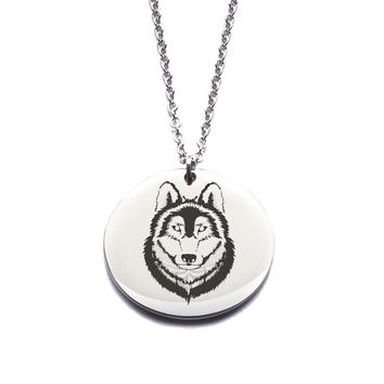 Custom Engraved Stainless Steel Wolf Necklace