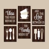 KITCHEN Quote Wall Art, Kitchen CANVAS or Prints Bless Food Before Us, Love Between, Family Beside Us, Dining Room Decor, Set of 6 Pictures