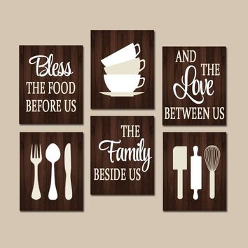 KITCHEN Quote Wall Art, Kitchen CANVAS or Prints, Bless Food Before Us, Love Between, Family Beside Us, Dining Room Decor, Set of 6 Pictures