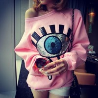 Pink Pullover Women 2017 Fall Winter Cute Eyes Sequined O Neck Long Sleeve Warm Fleeced Sweatshirts Japanese Kawaii Clothes T11