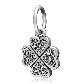 Four Leaf Clover Charm 925 Sterling Silver Heart Beads fit Pandora Charms Bracelets