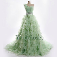 A-line Floor-length Light Green Organza Beaded One-shoulder Prom Dress, Bridesmaid Dress, Graduation dress,Wedding dress