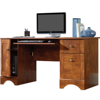 Computer Desk with 2 Storage Drawers Home Office Furniture Brushed Maple Finish