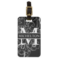 Dark Floral Personalized Bag Tag