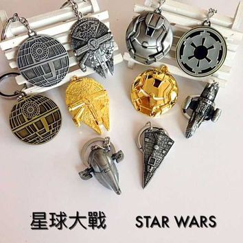 Star Treck Key Keyrings Spaceship Items Star Wars Death Star Millennium Falcon Keychain Key Rings Lot Sets Collectables Toys