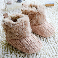 Toddlers Infant Baby Crochet/Knit Fleece Boots Anti-Slip Winter Casual Shoes 7Colors