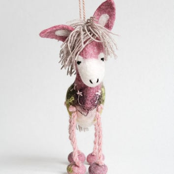 Colette - Felt Donkey. Art Toy. Felted toy. Marionette. Puppet. Handmade Toys.  pink, gray, green. MADE TO ORDER