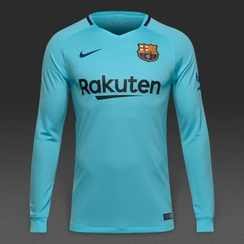 KUYOU Barcelona 2017/18 Away Men Long Sleeve Soccer Jersey Personalized Name and Number