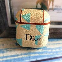 DIOR Fashionable iPhone Airpods Headphone Case Wireless Bluetooth Headphone Protector Case(No Headphones)