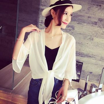 New Arrival 2018 Summer Style Women Casual Loose Long See-Through Mesh Tops Sheer Open Cardigan Solid Shirts Coat Jacket 2 Color