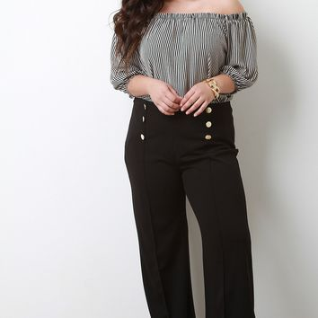 Pintuck Flared High Waist Pants