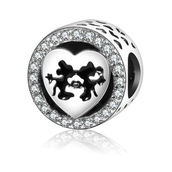 2017 Newest DIY Fit Original Pandora Charms Bracelet 925 Sterling Silver Mickey & Minnie Love Heart Kiss Charms Beads with CZ
