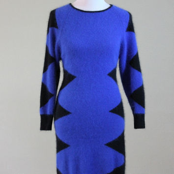 Vtg 80's Sweater Dress Electric Blue Black Super Soft Angora &  Lambswool Medium