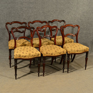 Antique Dining Chairs Walnut Set of 6 Fine Quality English Victorian c1840