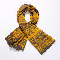 Yellow and grey Woman scarf, hand printed with an African inspired pattern by Dikla Levsky