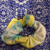 Blue and Yellow Tie Dye Scunchie