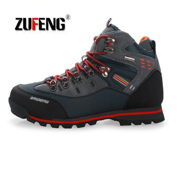 Waterproof Hiking Shoes Suede Mountain Climbing Quality Outdoor Sneakers For Men  Trekking Shoes Breathable Hiking Hunting Boots