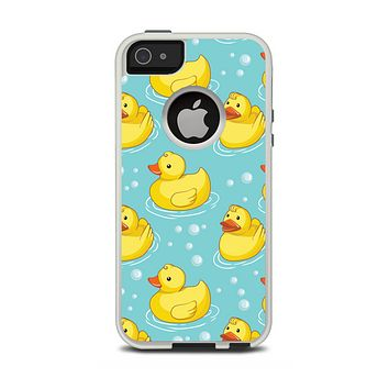 The Cute Rubber Duckees Apple iPhone 5-5s Otterbox Commuter Case Skin Set