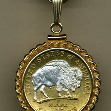 Gorgeous 2-Toned Silver on Gold Sacred White Bison nickel Necklaces