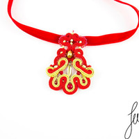 Delightful, unique, soutache necklace with crystal, spanish, red, gold jewellery