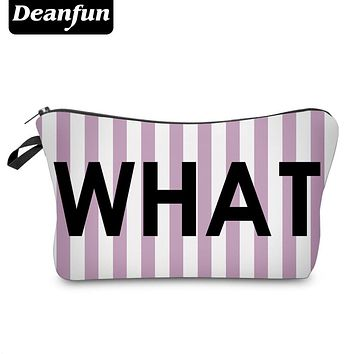 Deanfun 3D Printed Cosmetic Bags Stripe and Letter Women Makeup Storage for Travel  51006