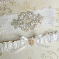White Satin & Lace Wedding Bridal Garter Set with Rose Gold