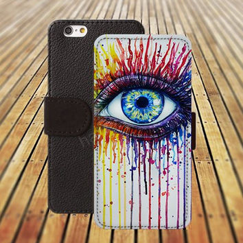 iphone 5 5s case rainbow fire eyes watercolor colorful iphone 4/4s iPhone 6 6 Plus iphone 5C Wallet Case,iPhone 5 Case,Cover,Cases colorful pattern L219