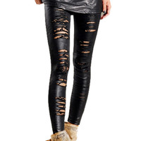 Black Cut-Out Spliced Lace Leather Leggings