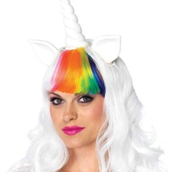 The 2pc. Unicorn Kit Unicorn Wig W/adjustable Elastic Strap Rainbow Tail In Multi Color