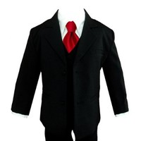 Gino Giovanni Boy Black Suit with Solid Red Tie From Baby to Teen