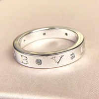 Bvlgari New fashion letter diamond personality ring Silver