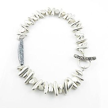Mother of Pearl Mosaic Brushed Silver - Tribal Fever - Necklace