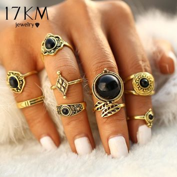 17KM Antique Gold Color 9 pcs / sets Fashion Vintage Punk Midi Rings Set Charms Jewelry Ring For Women Boho Style Female