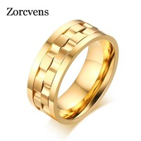 ZORCVENS Gold-Color Spike Rings for Men Rotatable Wedding & Engagement Rings
