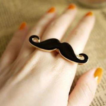 Jewelry New Beard Cute Trendy Fashion Joker One-piece Ring Double Ring Rings Size Adjustable