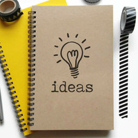 Bullet journal, writing journal, spiral notebook, sketchbook, diary, lined blank or grid paper, custom, personalized - Ideas, light bulb