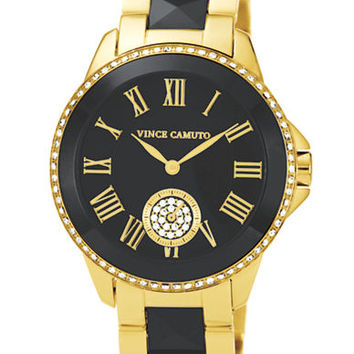 Vince Camuto Ladies Two Zone Black and Gold Watch