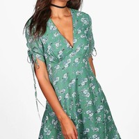 Tall Anna Woven Tie Neck Tea Dress | Boohoo