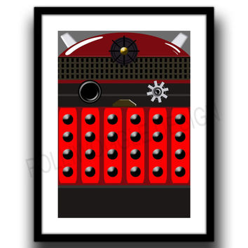 Doctor Who Dalek Print, dr who, minimalist print, Coose your colour in A3 or A4 format