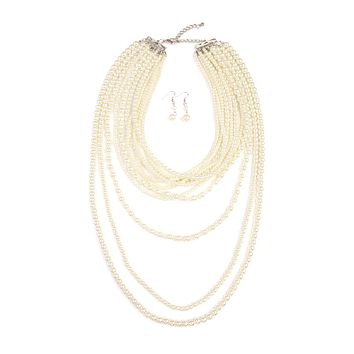 Glass Pearl Layer Necklace and Earring Set