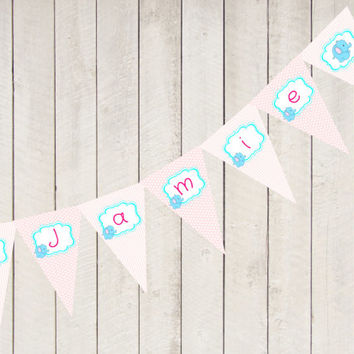 Personalised Pink Elephant party banner, personalized printable birthday banner, custom banner, DIY