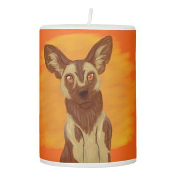 African Wild Dog Pillar Candle