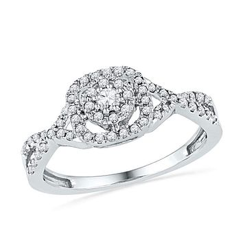 10kt White Gold Women's Round Diamond Solitaire Twist Bridal Wedding Engagement Ring 1/3 Cttw - FREE Shipping (US/CAN)