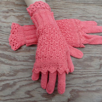 knitted pink gloves with fingerless, knit full finger gloves, arm warmers,  knitting women winter gloves, handmade accessories, hand warmers