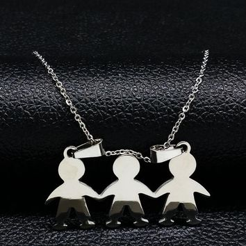 2018 Boys Girls Love Stainless Steel Necklaces for Women Silver Color Necklace & Pendants For Women Men Jewelry feminino N6815B