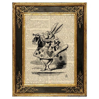 Alice in Wonderland Art Print, White Rabbit with Trumpet