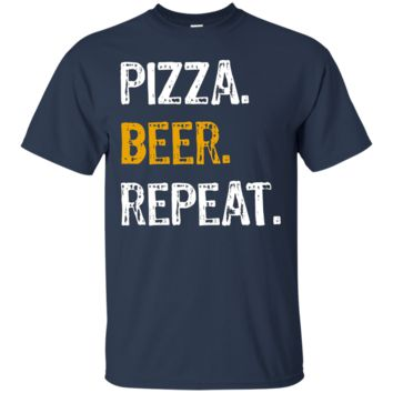 Pizza Beer Repeat Shirt, Funny Novelty Pizza Lover Tee
