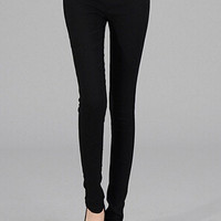 Black Skinny Zipper Denim Pants