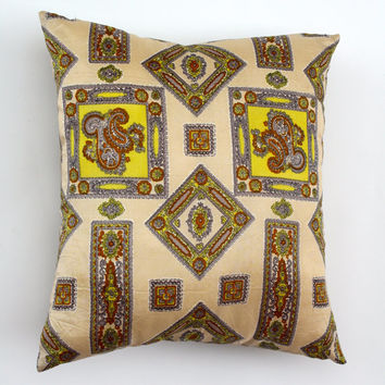 VINTAGE UPCYCLED PILLOW  .  Retro Satin Scarf Accent Pillow . Bright Vintage Sofa Pillow . Natural Color Linen Backing Deocrator Pillow
