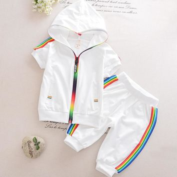 Kid Boy Girl Clothes Sportswear Summer 2018 Fashion Short Sleeve Colorful Zipper Hooded Clothing For Girls Children Outfit Set